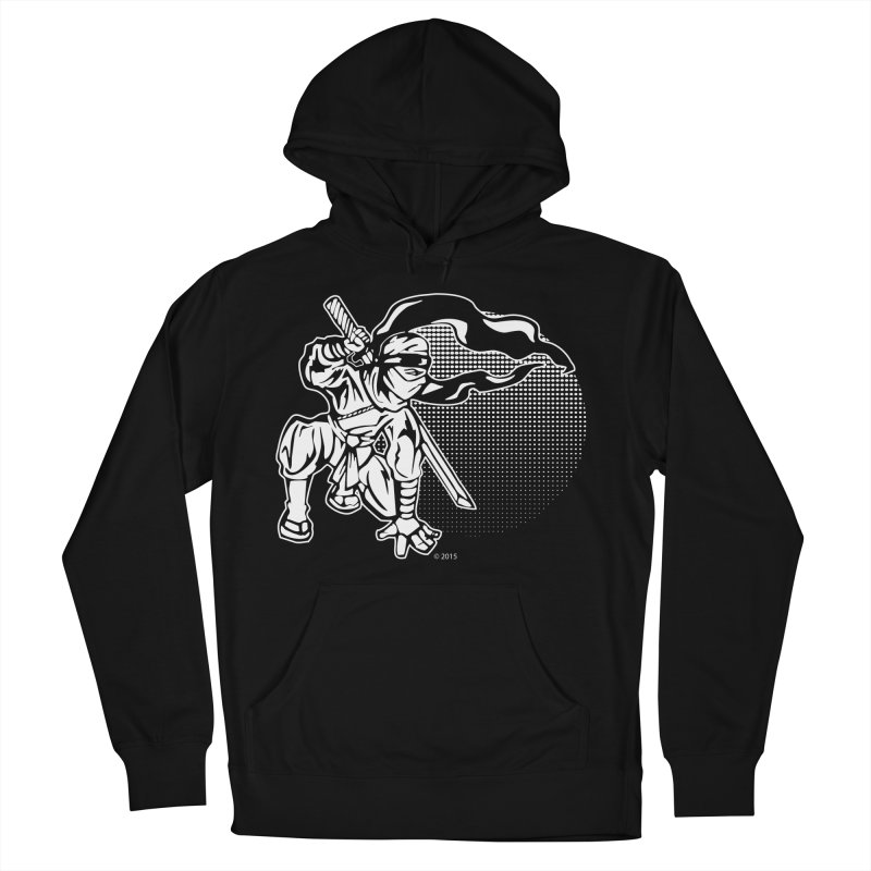 Ninja In The Sunset in Men's French Terry Pullover Hoody Black by Jason A. Das - Chameleon Studios