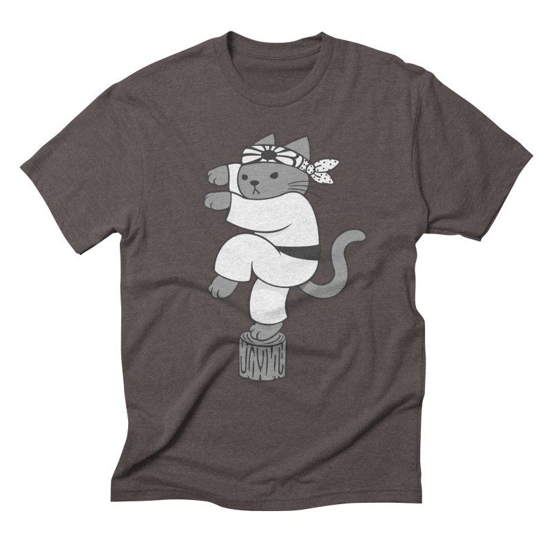 the Karate Cat Men's Triblend T-shirt by Jayme T-shirts
