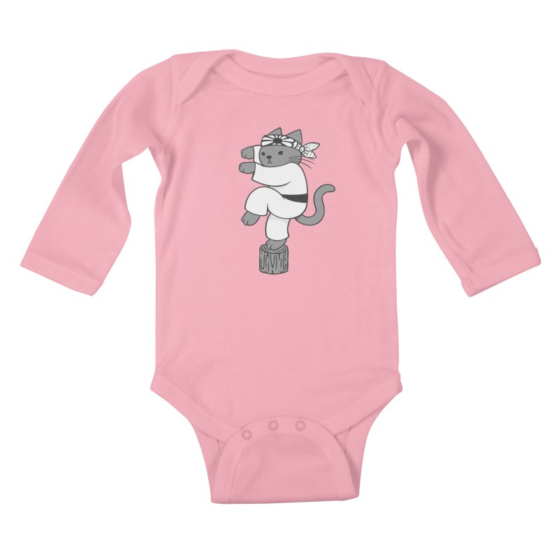 the Karate Cat Kids Baby Longsleeve Bodysuit by Jayme T-shirts