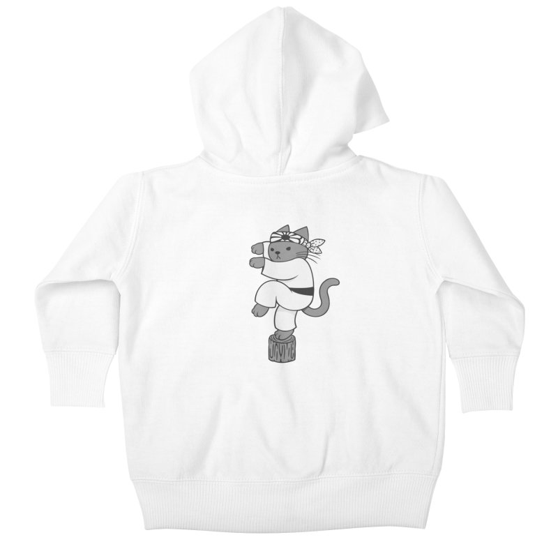 the Karate Cat Kids Baby Zip-Up Hoody by Jayme T-shirts