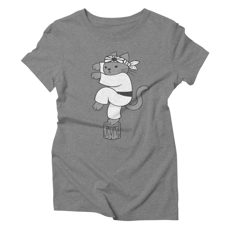 the Karate Cat Women's Triblend T-shirt by Jayme T-shirts