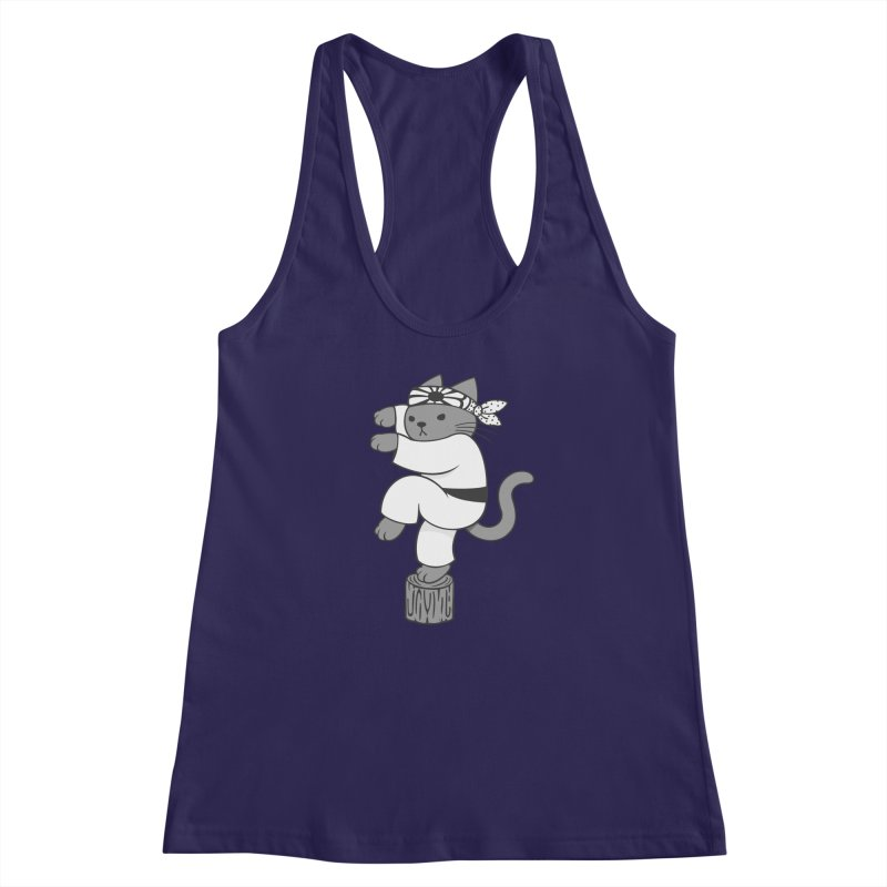 the Karate Cat Women's Racerback Tank by Jayme T-shirts