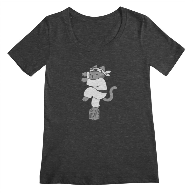 the Karate Cat Women's Scoopneck by Jayme T-shirts