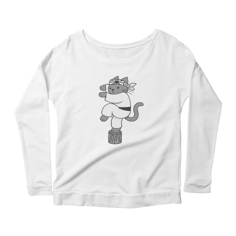 the Karate Cat Women's Longsleeve Scoopneck  by Jayme T-shirts