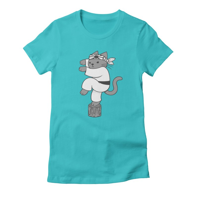 the Karate Cat Women's Fitted T-Shirt by Jayme T-shirts