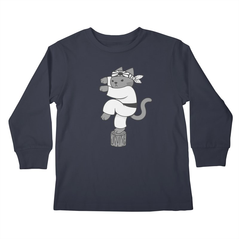 the Karate Cat Kids Longsleeve T-Shirt by Jayme T-shirts