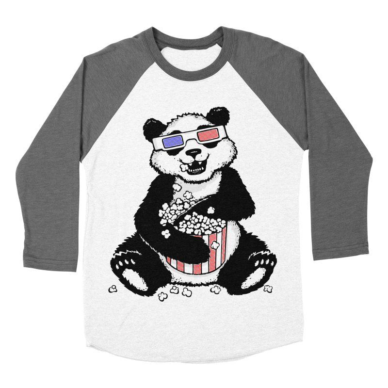 3-D Panda Women's Baseball Triblend T-Shirt by Jayme T-shirts