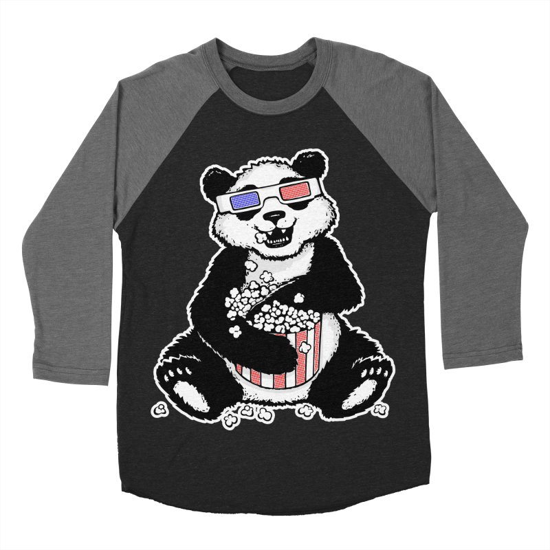 3-D Panda Men's Baseball Triblend T-Shirt by Jayme T-shirts