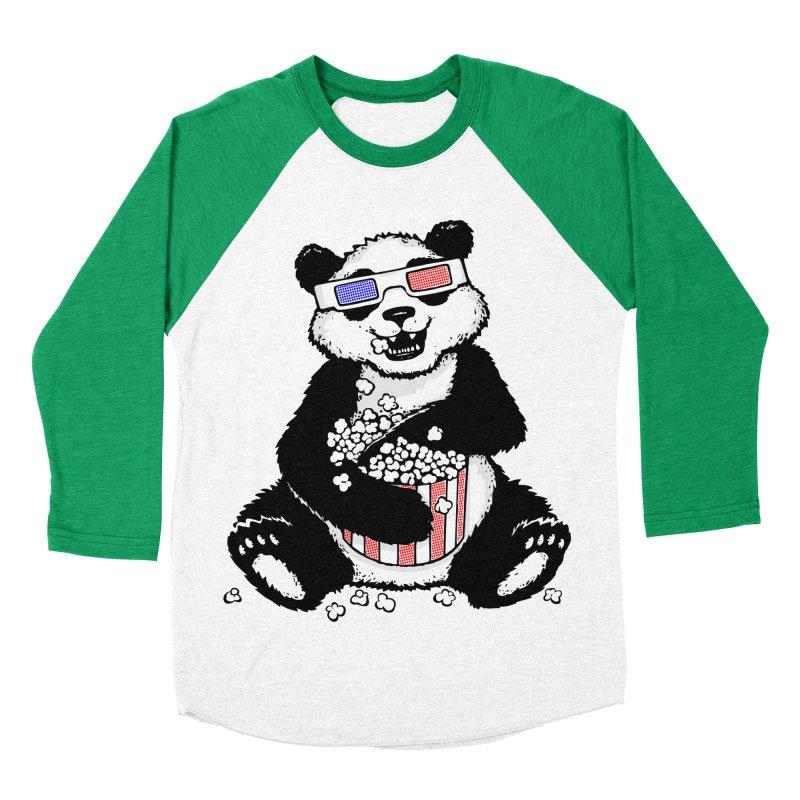 3-D Panda Men's Baseball Triblend T-Shirt by Jayme T-shirts