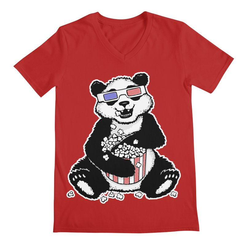 3-D Panda Men's V-Neck by Jayme T-shirts