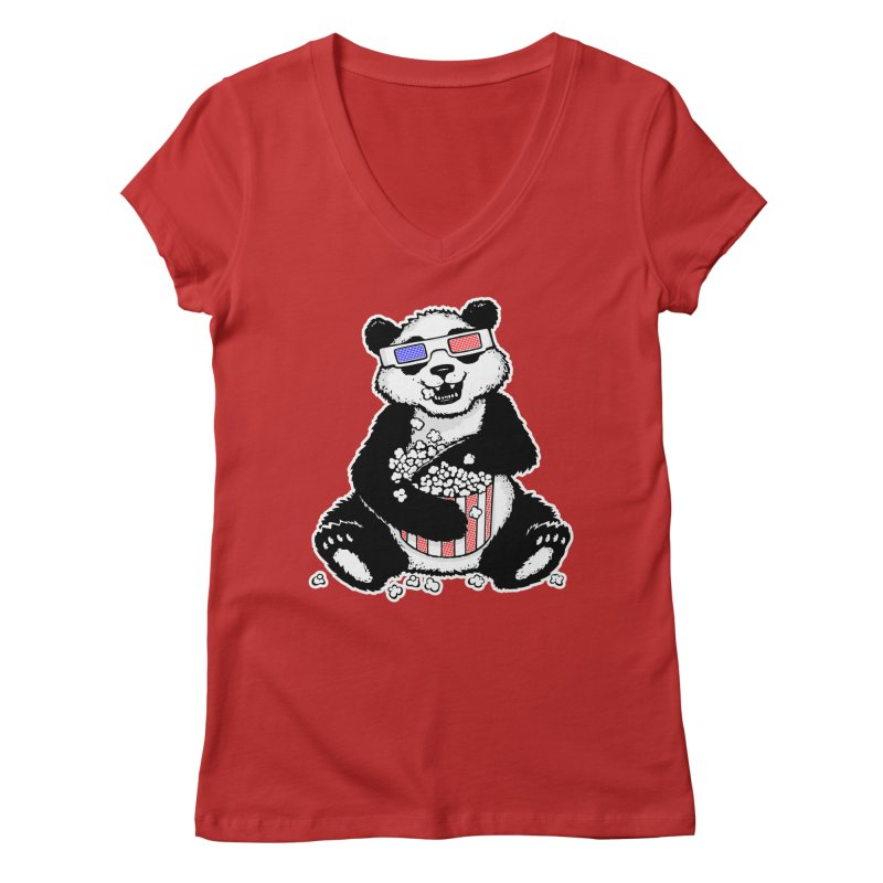 3-D Panda Women's V-Neck by Jayme T-shirts