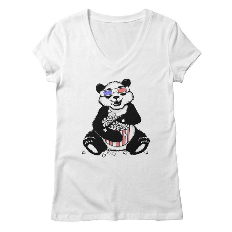 3-D Panda Women's V-Neck by Jayme T-shirts
