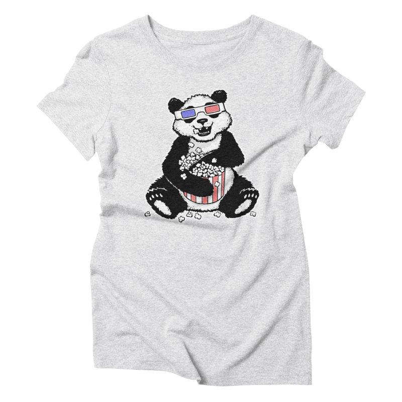 3-D Panda Women's Triblend T-shirt by Jayme T-shirts