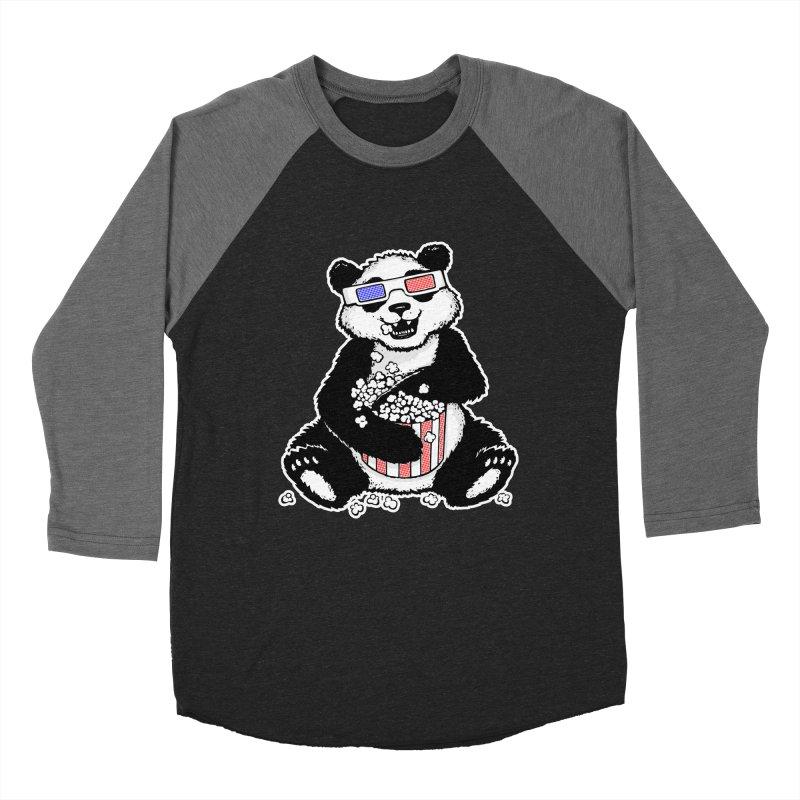 3-D Panda Women's Baseball Triblend T-Shirt by Jayme T-shirts