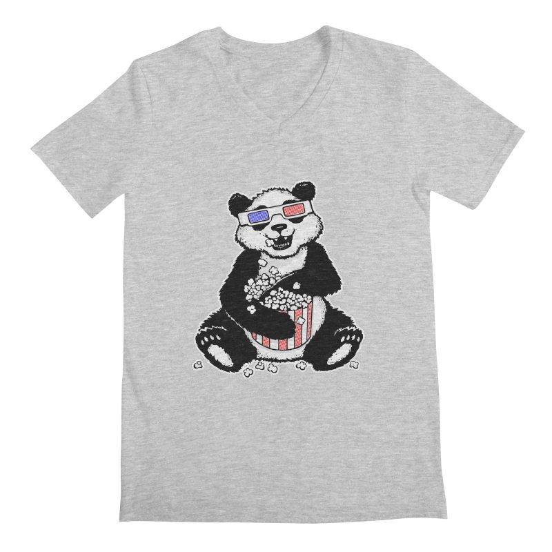 3-D Panda Men's V-Neck by Jayme T-shirts