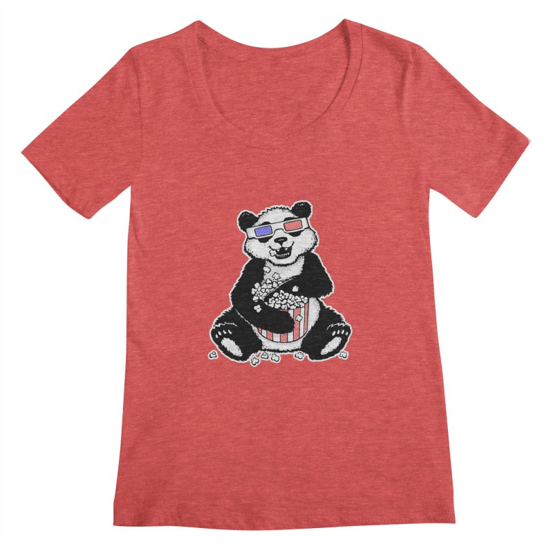 3-D Panda Women's Scoopneck by Jayme T-shirts