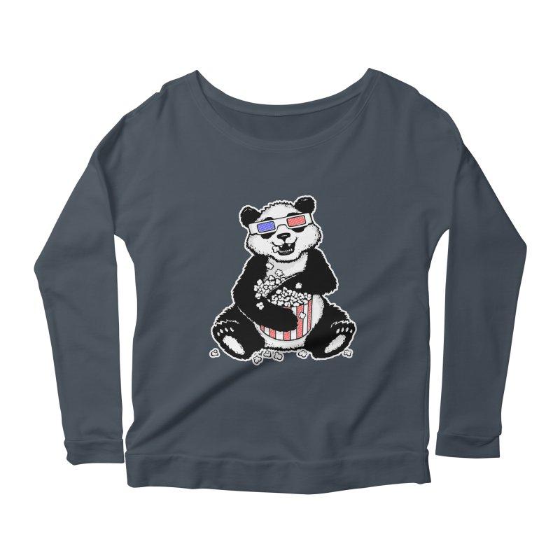 3-D Panda Women's Longsleeve Scoopneck  by Jayme T-shirts