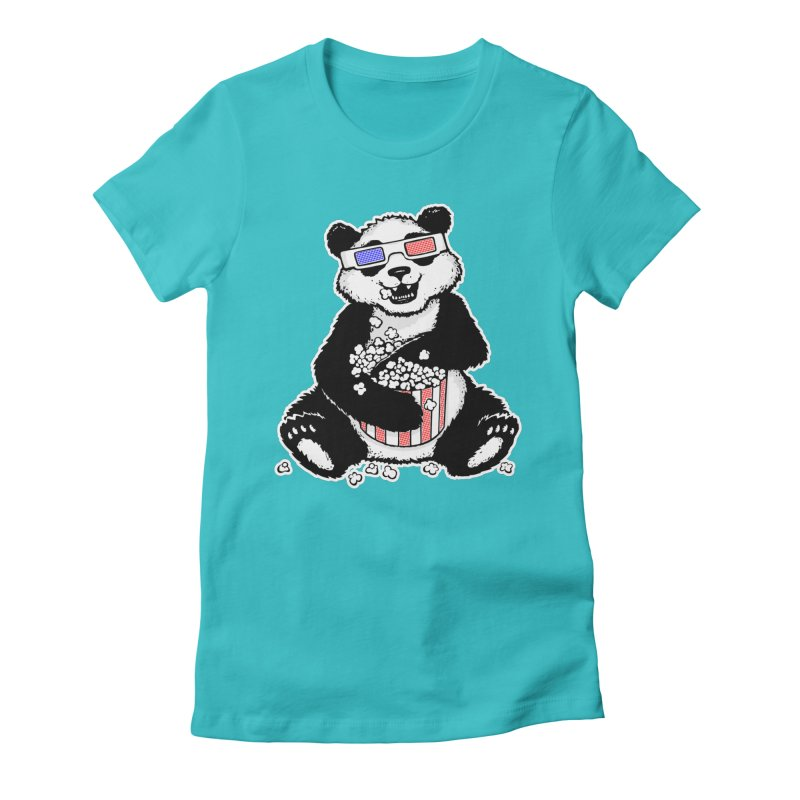 3-D Panda Women's Fitted T-Shirt by Jayme T-shirts