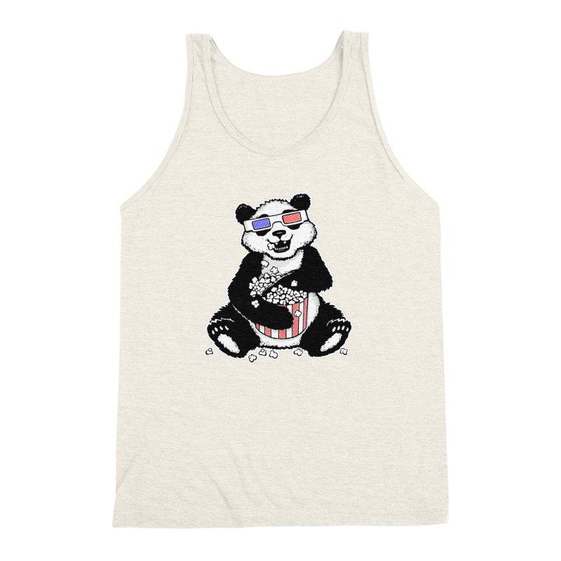 3-D Panda Men's Triblend Tank by Jayme T-shirts