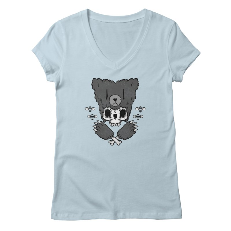 Bear Skull (smaller print) Women's V-Neck by Jayme T-shirts