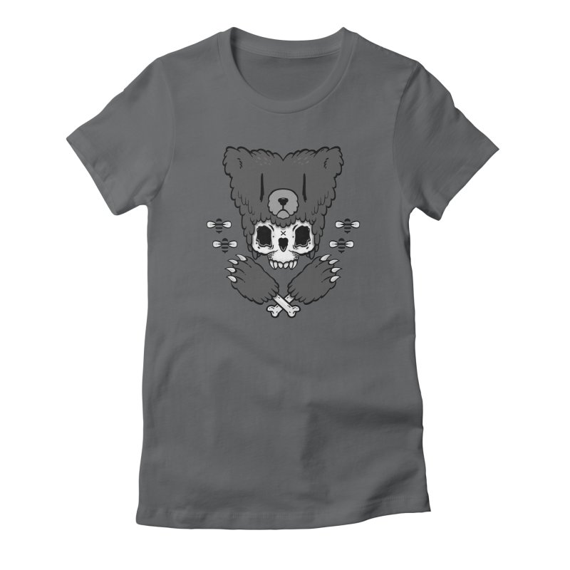 Bear Skull (smaller print) Women's Fitted T-Shirt by Jayme T-shirts
