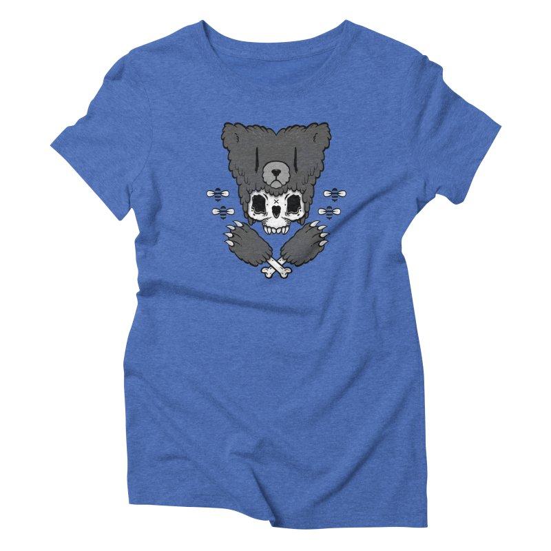 Bear Skull (smaller print) Women's Triblend T-shirt by Jayme T-shirts