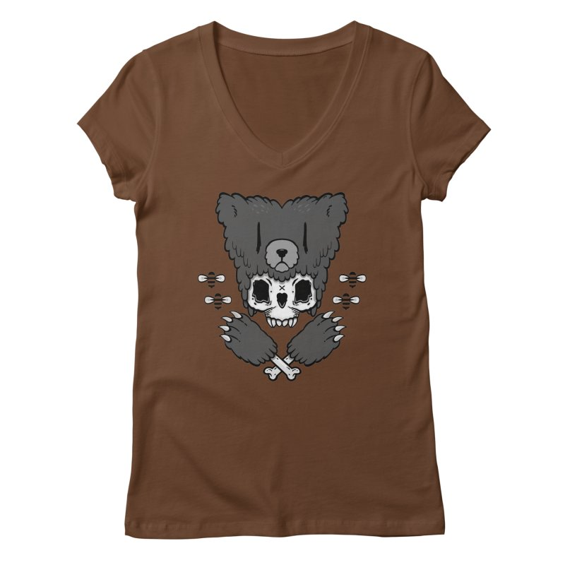Bear Skull   Women's V-Neck by Jayme T-shirts