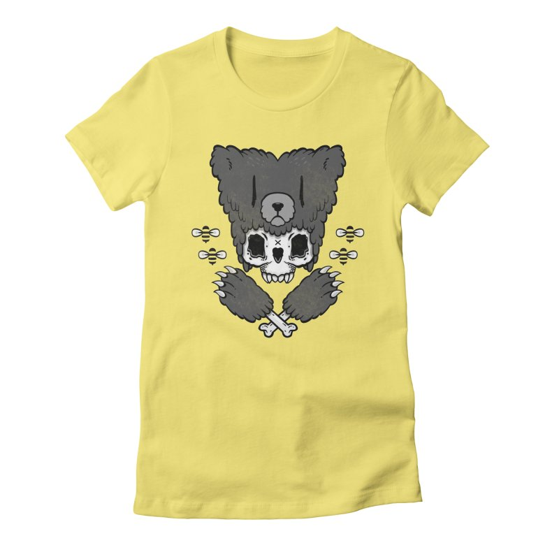 Bear Skull   Women's Fitted T-Shirt by Jayme T-shirts