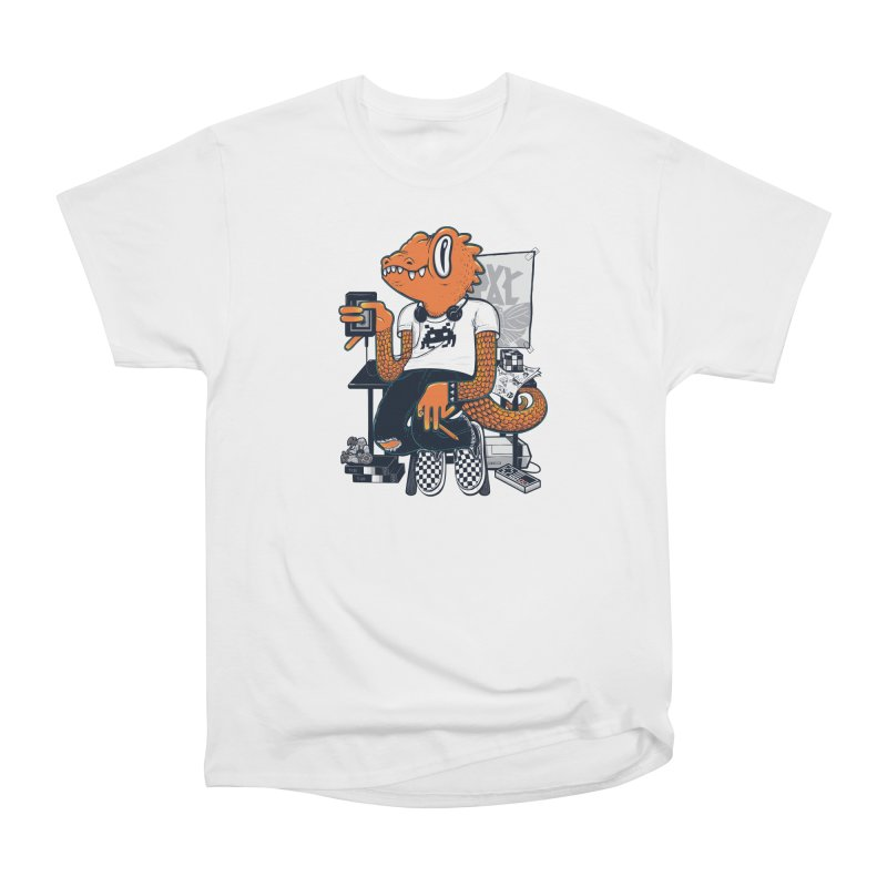 Retro Raptor in Women's Classic Unisex T-Shirt White by Jayme T-shirts