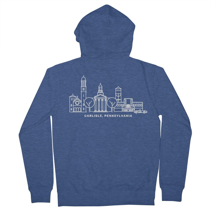 Carlisle, Pennsylvania Downtown Doodle Men's French Terry Zip-Up Hoody by JayneandJoy's Artist Shop