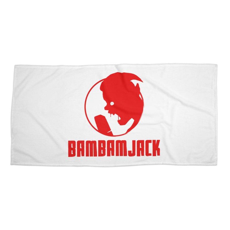 BamBamJack Screaming Demon with Tagline Accessories Beach Towel by Jbuck's Artist Shop