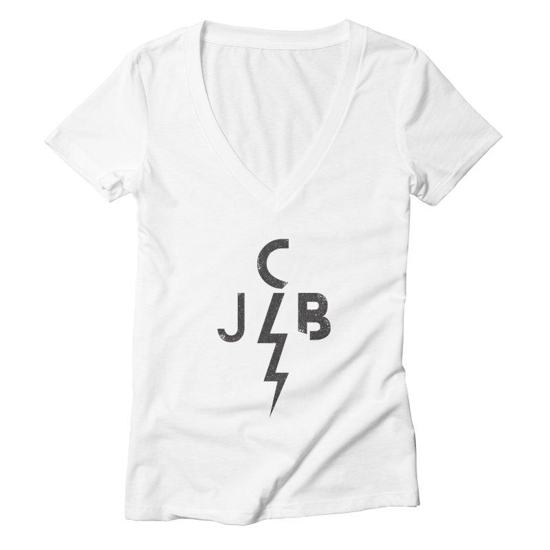 JCB Lightning Black Women's V-Neck by JeffCarlsonBand's Artist Shop