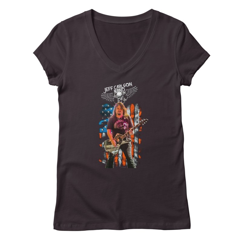 JC American Flag Live-(Brad Coletti Collection) Women's V-Neck by JeffCarlsonBand's Artist Shop