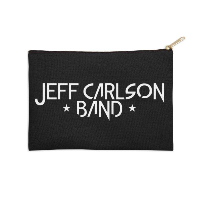 JCB White Logo Accessories Zip Pouch by JeffCarlsonBand's Artist Shop