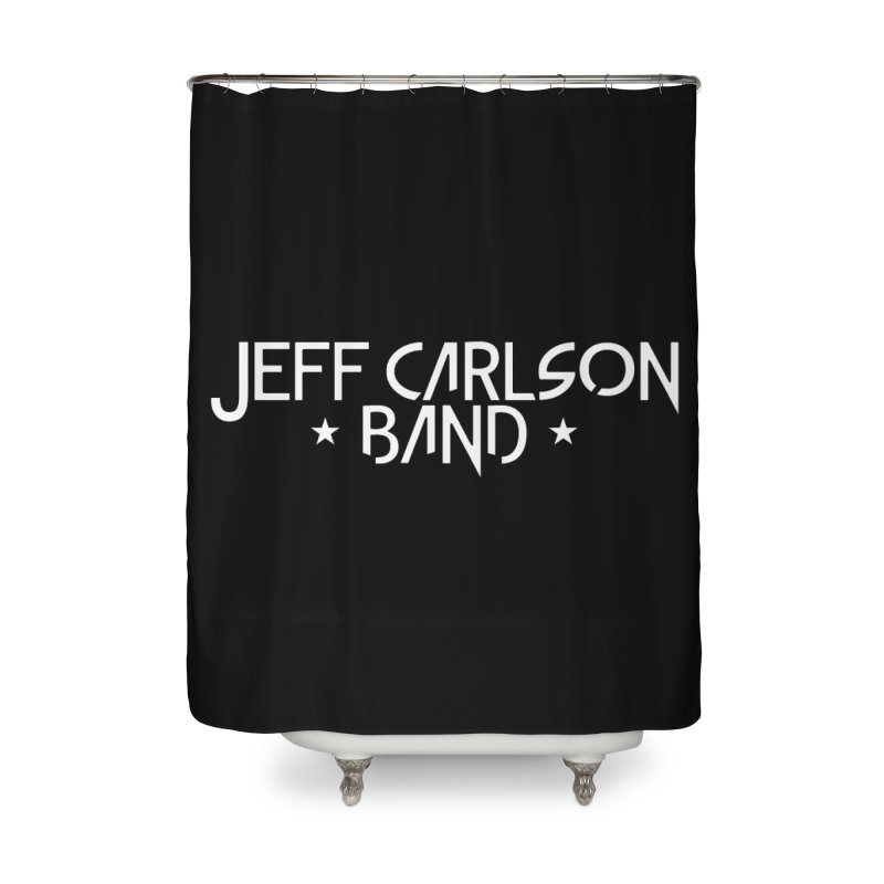 JCB White Logo Home Shower Curtain by JeffCarlsonBand's Artist Shop