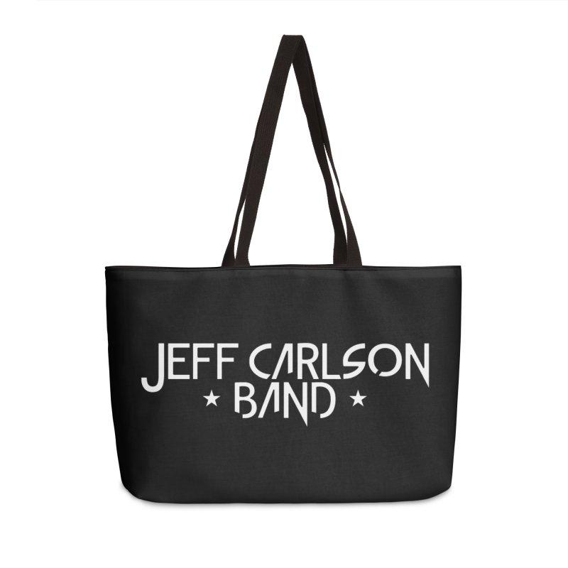 JCB White Logo Accessories Weekender Bag Bag by JeffCarlsonBand's Artist Shop
