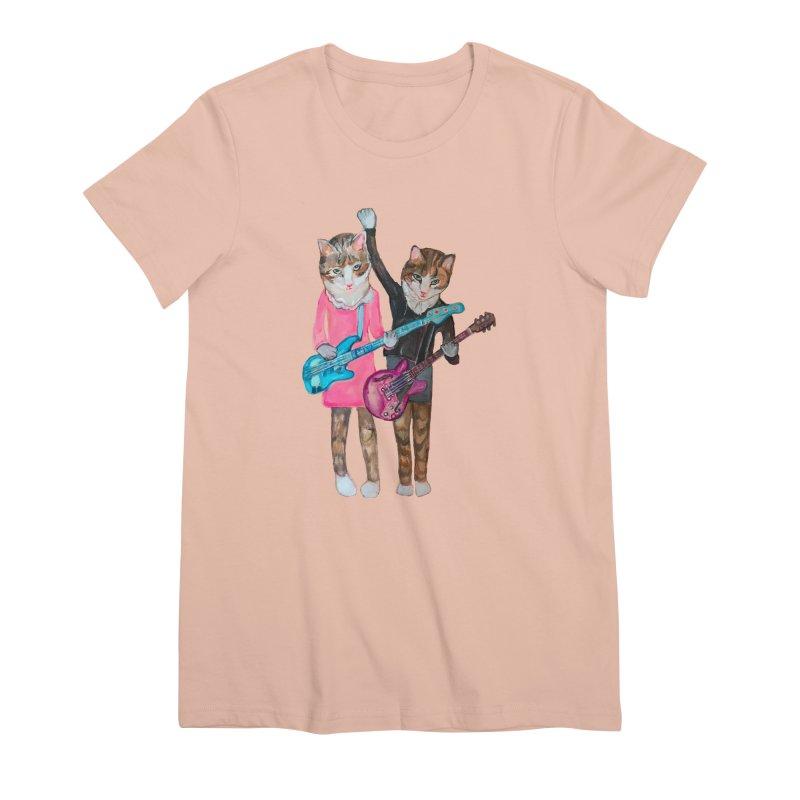 Rock + Roll Baby Cats Women's Premium T-Shirt by Jennybelin's Artist Shop