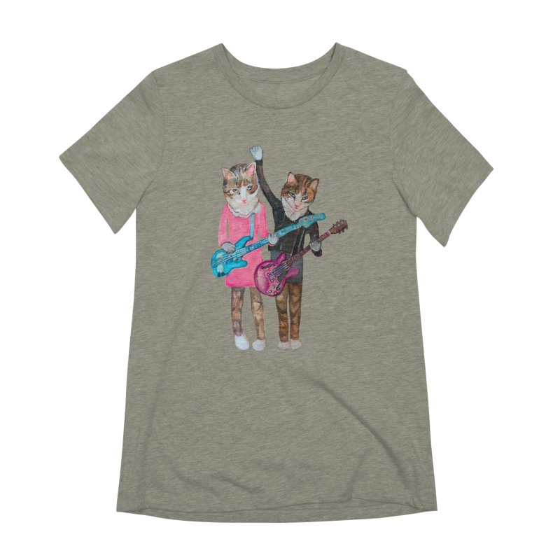 Rock + Roll Baby Cats Women's Extra Soft T-Shirt by Jennybelin's Artist Shop