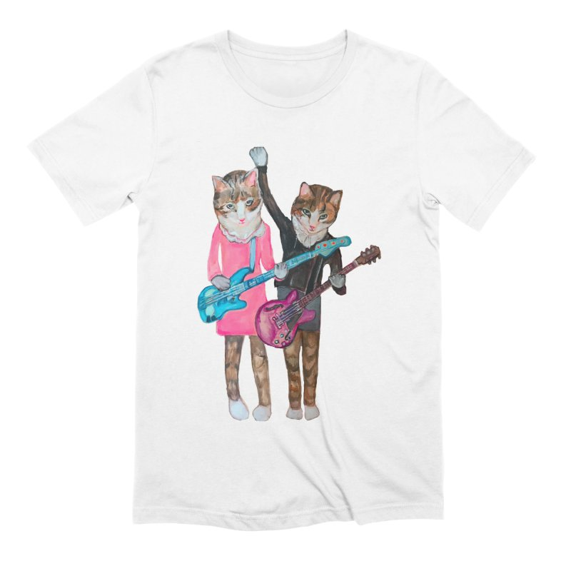 Rock + Roll Baby Cats Men's Extra Soft T-Shirt by Jennybelin's Artist Shop