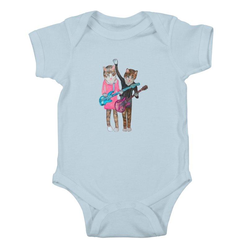 Rock + Roll Baby Cats Kids Baby Bodysuit by Jennybelin's Artist Shop
