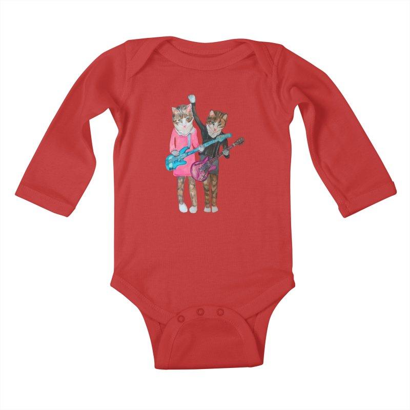 Rock + Roll Baby Cats Kids Baby Longsleeve Bodysuit by Jennybelin's Artist Shop