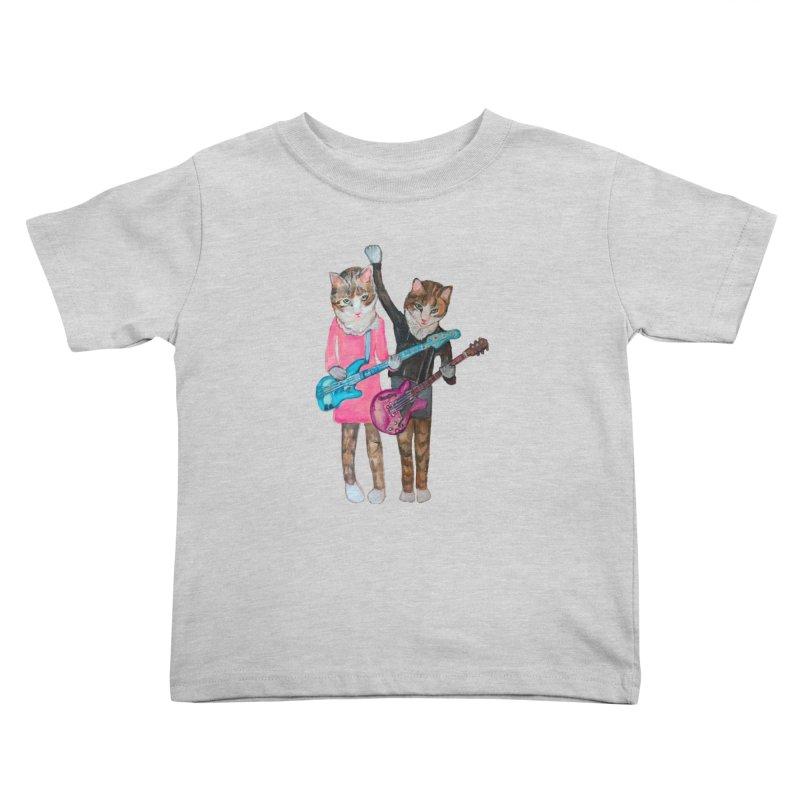 Rock + Roll Baby Cats Kids Toddler T-Shirt by Jennybelin's Artist Shop