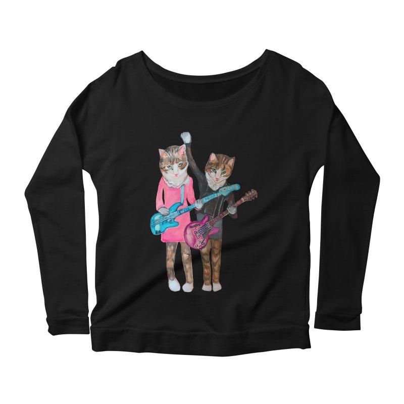 Rock + Roll Baby Cats Women's Scoop Neck Longsleeve T-Shirt by Jennybelin's Artist Shop