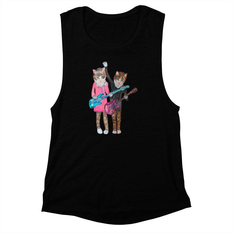 Rock + Roll Baby Cats Women's Muscle Tank by Jennybelin's Artist Shop
