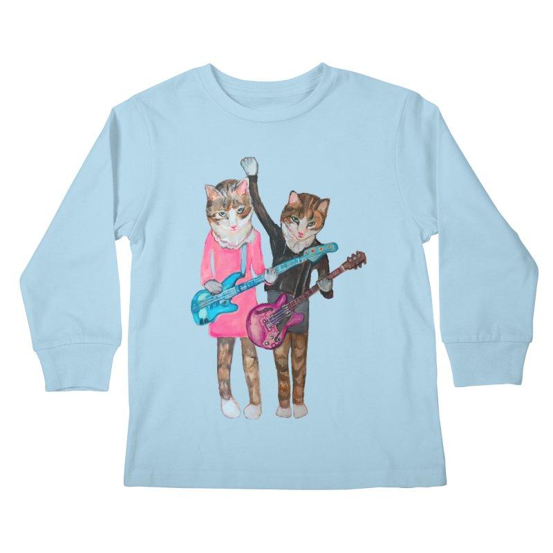 Rock + Roll Baby Cats Kids Longsleeve T-Shirt by Jennybelin's Artist Shop