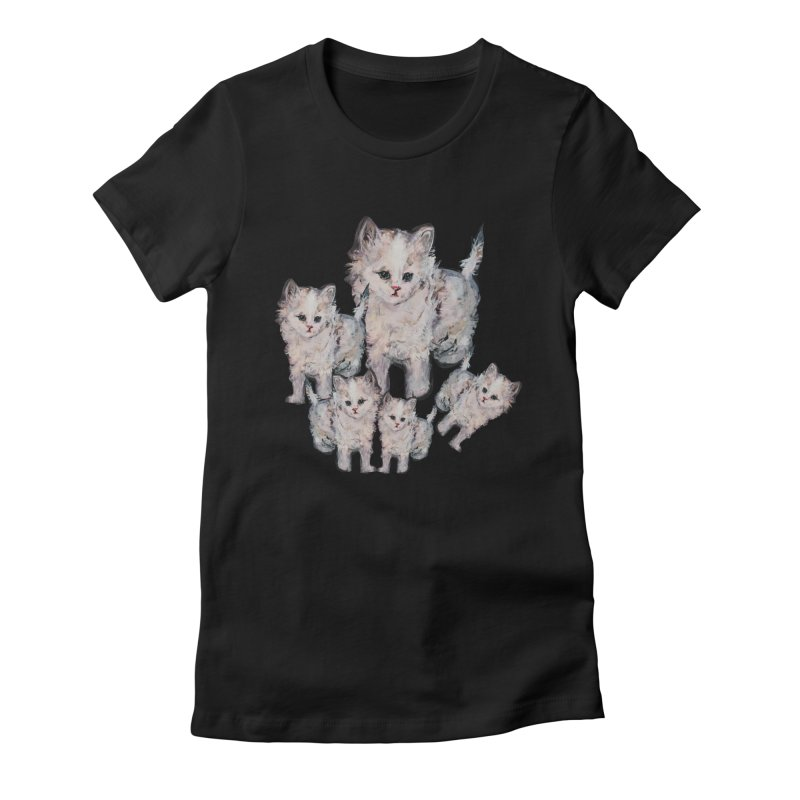Kitty Kat Karma Women's Fitted T-Shirt by Jennybelin's Artist Shop