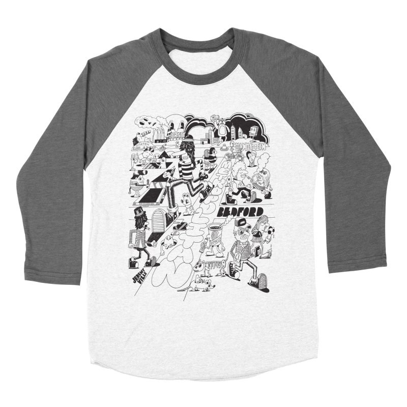Metropolitan Ave Men's Baseball Triblend Longsleeve T-Shirt by Jeremyville