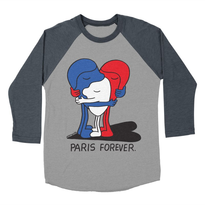 Paris Forever Men's Baseball Triblend Longsleeve T-Shirt by Jeremyville