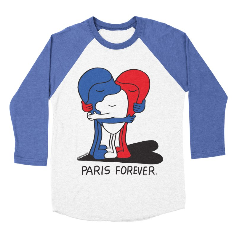 Paris Forever Men's Baseball Triblend Longsleeve T-Shirt by Jeremyville
