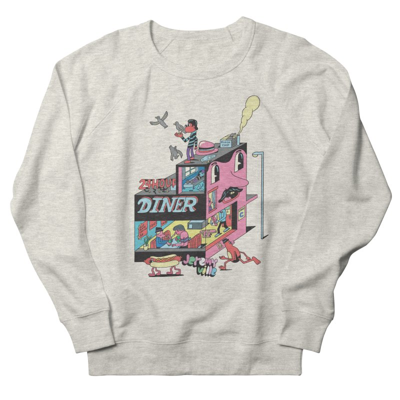 24 Hour Diner Men's French Terry Sweatshirt by Jeremyville